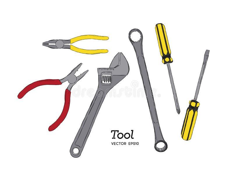 Reparationen, snickeri och träverkarbetshjälpmedel skissar symbolsuppsättningen stock illustrationer