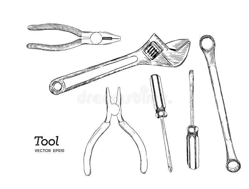 Reparationen, snickeri och träverkarbetshjälpmedel skissar symbolsuppsättningen royaltyfri illustrationer