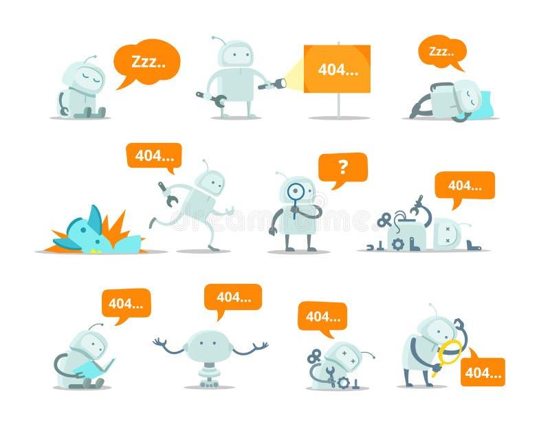 Reparationer för spring för kosmonaut för olycka för krasch för vektor för sida för fel för robotuppsättning 404 inte fann roliga vektor illustrationer