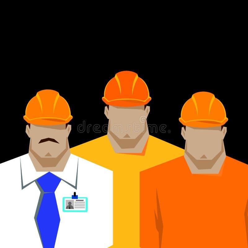 Reparationer konstruktionsbyggmästare i den gula hjälmen som arbetar med olika hjälpmedel tekniker arbetare Plan designillustrati royaltyfri illustrationer
