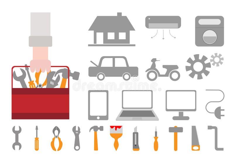 Reparations- och fixandesymboler för hemmet, bil, mobiltelefon, dator, M royaltyfri illustrationer