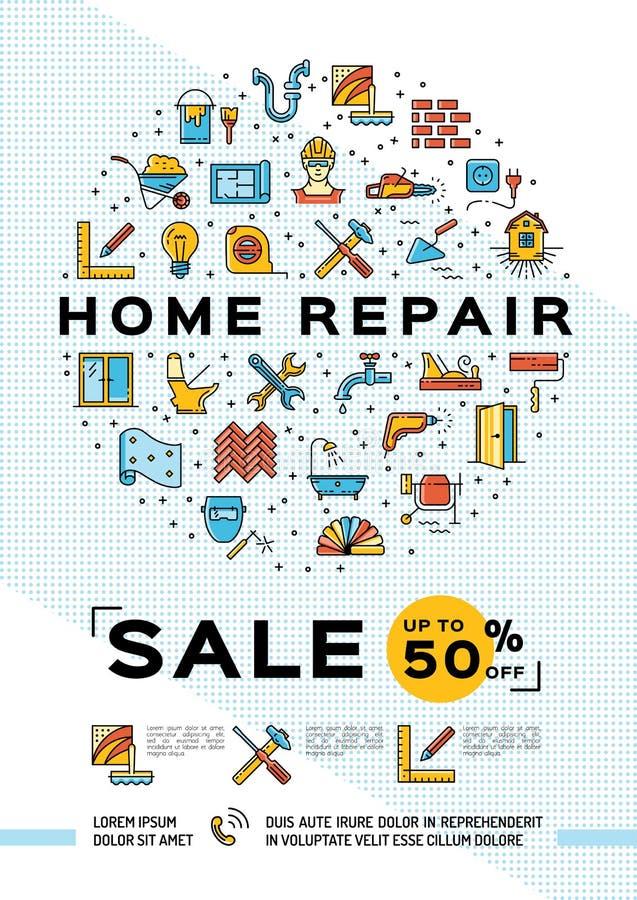 Reparationshusaffisch, hem- mall för renovering Tunn linje konstdesign, Sale och befordranbaner också vektor för coreldrawillustr stock illustrationer