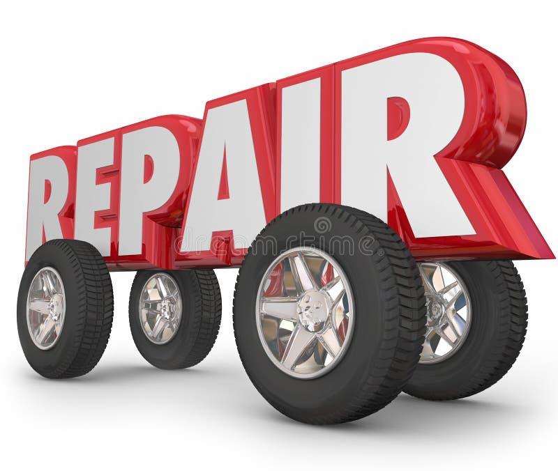 Reparationsordet 3d märker hjulbilmekanikern Fixing Vehicle royaltyfri illustrationer