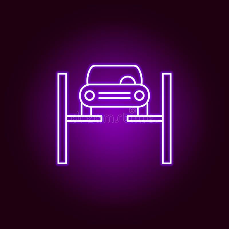 Reparatur der Autoentwurfsikone in der Neonart Elemente der Autoreparaturillustration in der Neonartikone Zeichen und Symbole k?n lizenzfreie abbildung