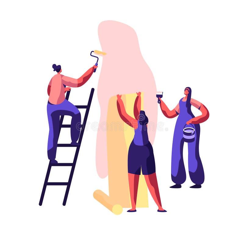 Reparatur-Service-Berufsarbeitskraft für Erneuerungs-Arbeit Arbeiter-Abstrich-Wand-Kleber mit Bürste Frau klebt Tapeten-Haus stock abbildung