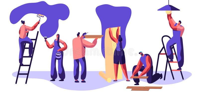 Reparatur-Service-Berufsarbeitskraft Handwerker, zum der Wand-Rolle in der Hand zu malen Frau klebt Tapete Mann-Lage-Laminatboden stock abbildung