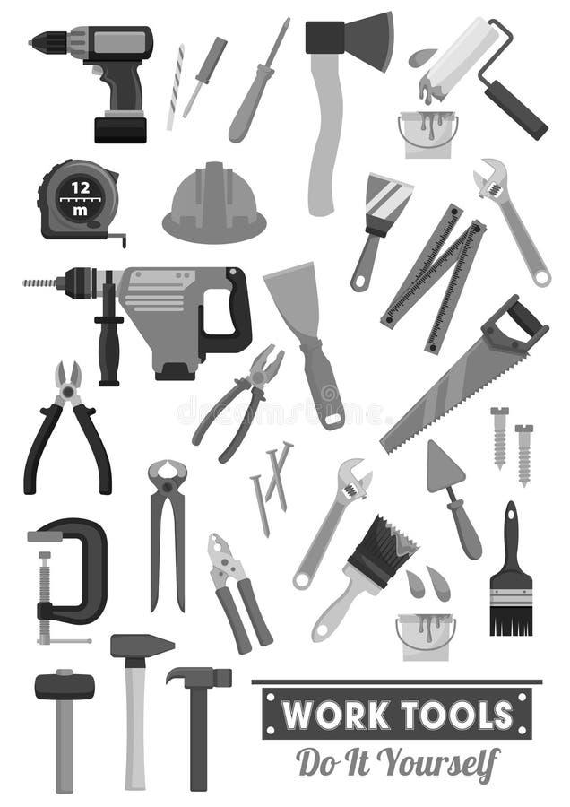 Reparatur- und Bauarbeitwerkzeugvektorikonen stock abbildung