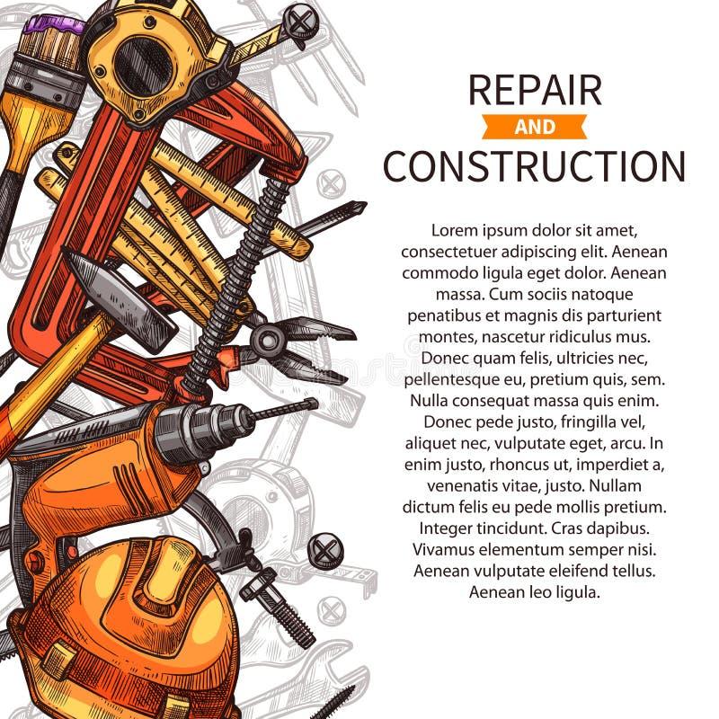 Reparatur- und Bauplakat von Arbeitswerkzeugen lizenzfreie abbildung