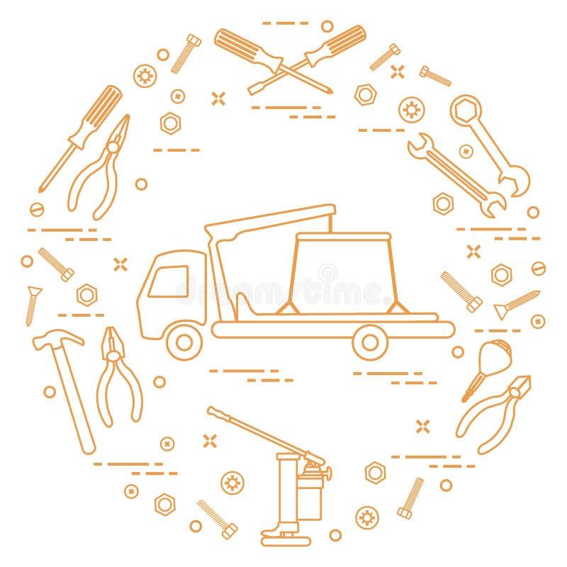 Reparaturautos: Abschleppwagen, Schlüssel, Schrauben, Schlüssel, Zangen, Steckfassung, Schinken lizenzfreie abbildung