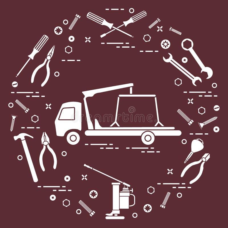 Reparaturautos: Abschleppwagen, Schlüssel, Schrauben, Schlüssel, Zangen, Steckfassung, Schinken vektor abbildung
