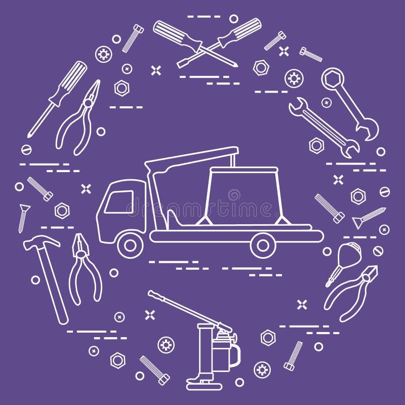 Reparaturautos: Abschleppwagen, Schlüssel, Schrauben, Schlüssel, Zangen, Steckfassung, Schinken stock abbildung