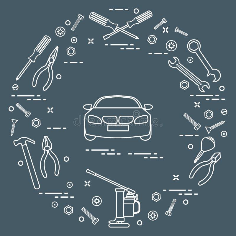 Reparaturautos: Automobil, Schlüssel, Schrauben, Schlüssel, Zangen, Steckfassung, ha lizenzfreie abbildung