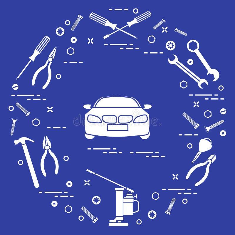 Reparaturautos: Automobil, Schlüssel, Schrauben, Schlüssel, Zangen, Steckfassung, ha vektor abbildung