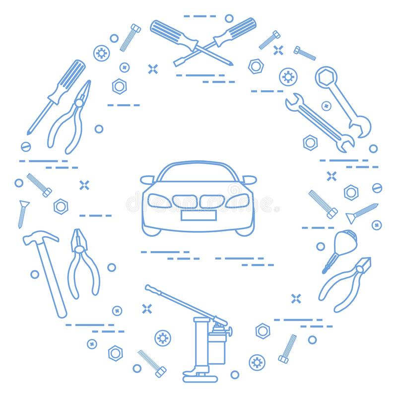 Reparaturautos: Automobil, Schlüssel, Schrauben, Schlüssel, Zangen, Steckfassung, ha stock abbildung