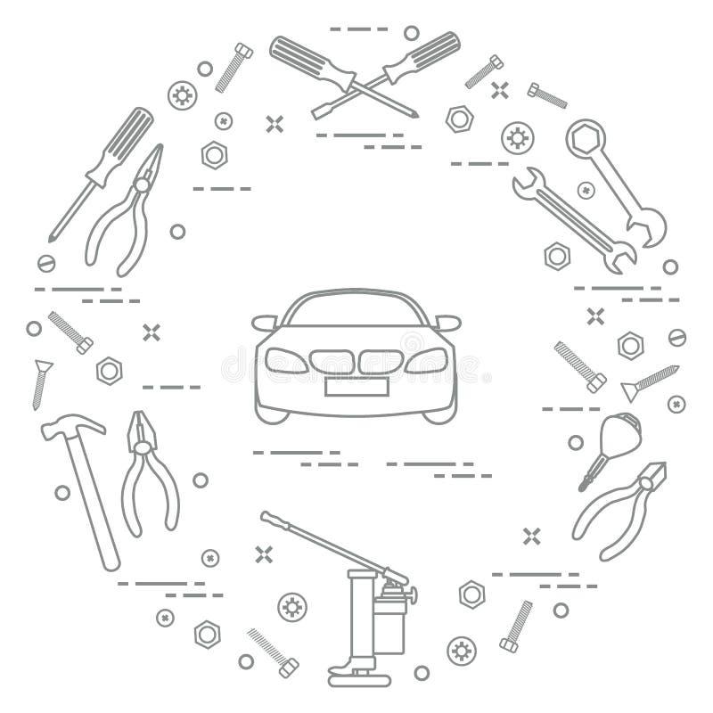 Reparaturautos: Automobil, Schlüssel, Schrauben, Schlüssel, Zangen, Steckfassung, Hammer, Schraubenzieher lizenzfreie abbildung