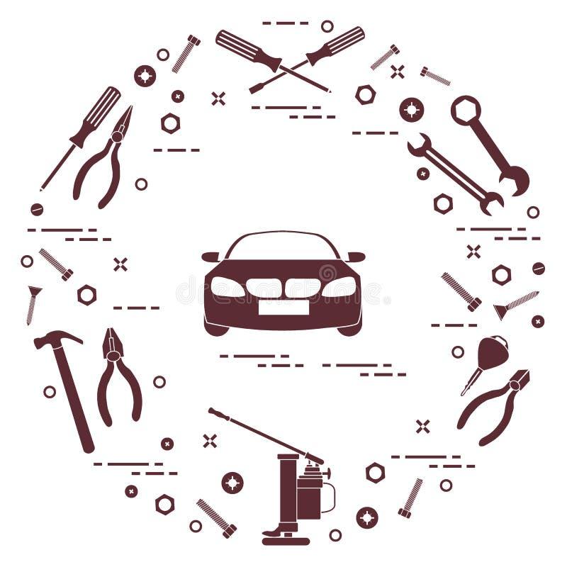 Reparaturautos: Automobil, Schlüssel, Schrauben, Schlüssel, Zangen, Steckfassung, Hammer, Schraubenzieher vektor abbildung