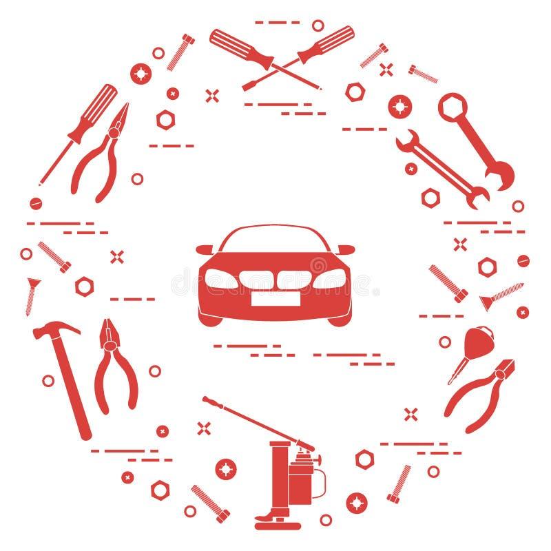 Reparaturautos: Automobil, Schlüssel, Schrauben, Schlüssel, Zangen, Steckfassung, Hammer, Schraubenzieher stock abbildung