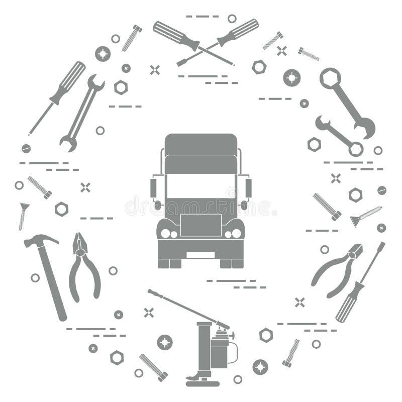 Reparaturautos: LKW, Schlüssel, Schrauben, Schlüssel, Zangen, Steckfassung, Hammer, vektor abbildung