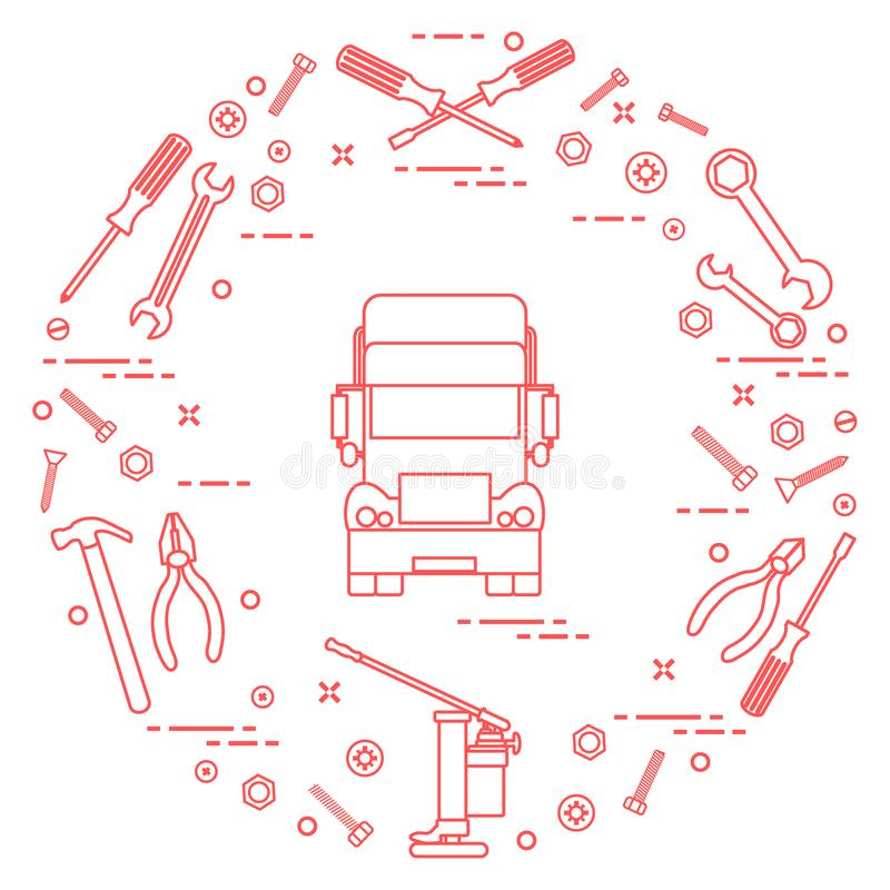 Reparaturautos: LKW, Schlüssel, Schrauben, Schlüssel, Zangen, Steckfassung, Hammer, stock abbildung