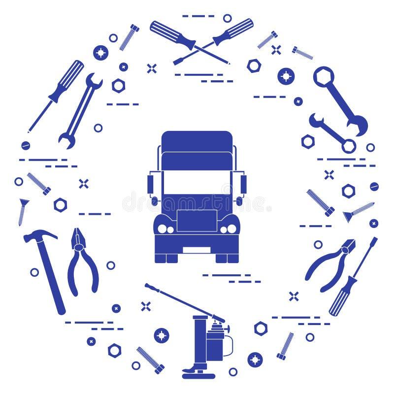 Reparaturautos: LKW, Schlüssel, Schrauben, Schlüssel, Zangen, Steckfassung, Hammer, lizenzfreie abbildung