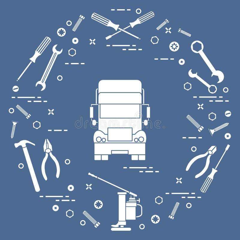 Reparaturautos: LKW, Schlüssel, Schrauben, Schlüssel, Zangen, Steckfassung, Hammer stock abbildung