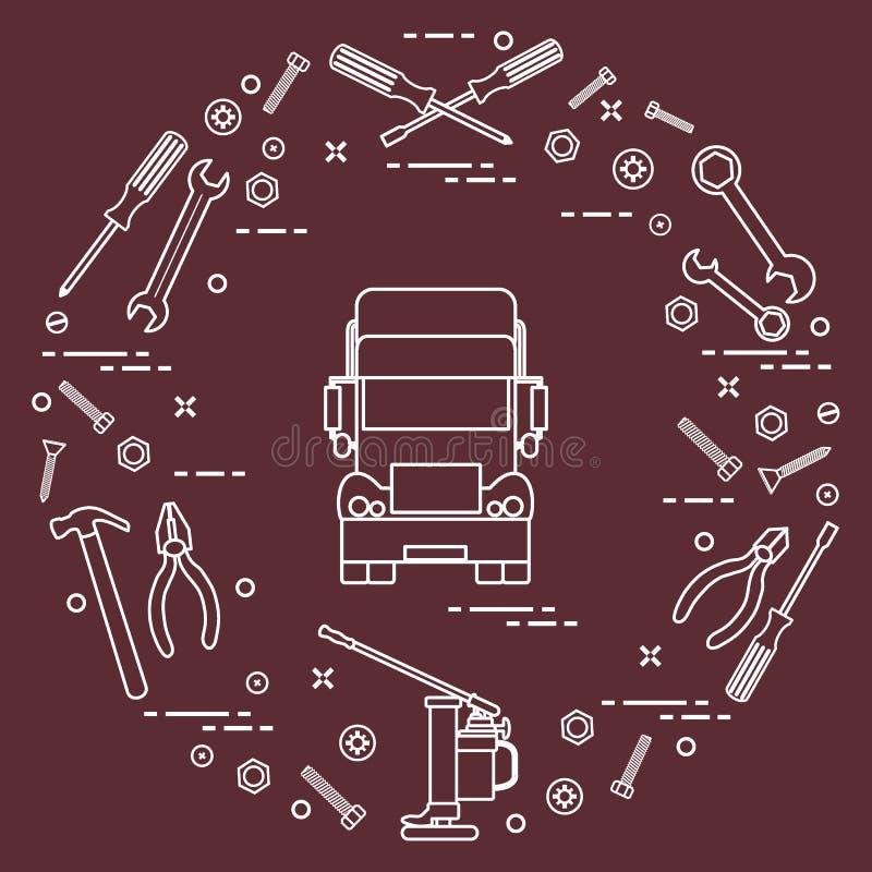 Reparaturautos: LKW, Schlüssel, Schrauben, Schlüssel, Zangen, Steckfassung, Hammer vektor abbildung