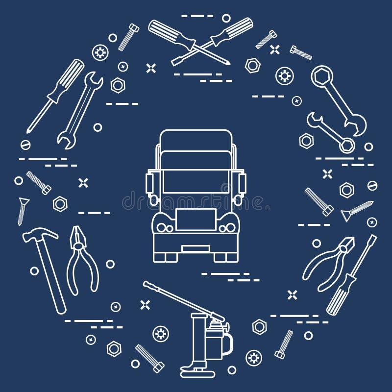 Reparaturautos: LKW, Schlüssel, Schrauben, Schlüssel, Zangen, Steckfassung, Hammer lizenzfreie abbildung