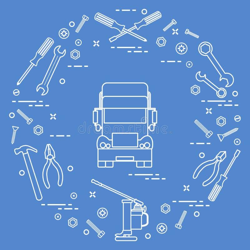 Reparaturautos: LKW, Schlüssel, Schrauben, Schlüssel, Zangen, Steckfassung, Hammer, Schraubenzieher vektor abbildung