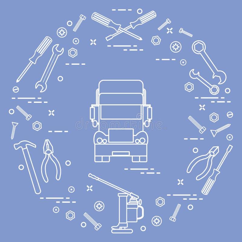 Reparaturautos: LKW, Schlüssel, Schrauben, Schlüssel, Zangen, Steckfassung, Hammer, Schraubenzieher stock abbildung