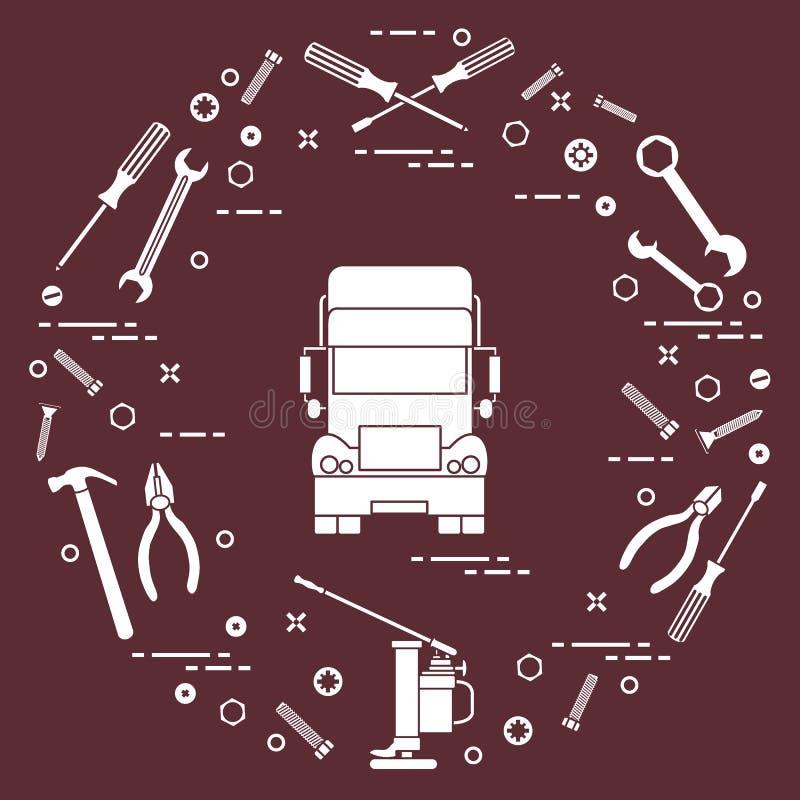 Reparaturautos: LKW, Schlüssel, Schrauben, Schlüssel, Zangen, Steckfassung, Hammer, Schraubenzieher lizenzfreie abbildung