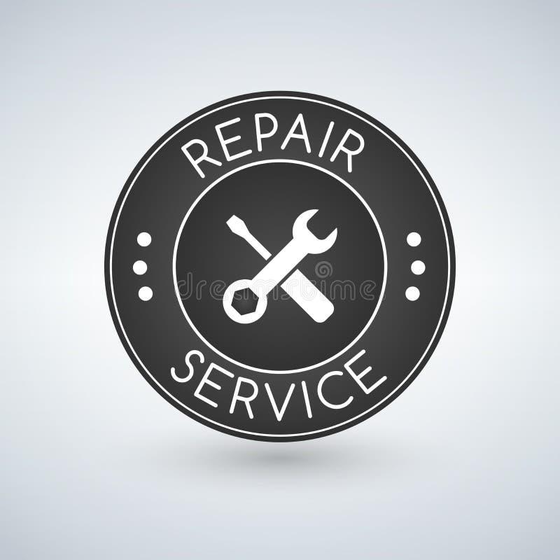 Reparaturservice-Aufkleber Vektorlogo-Designschablone stock abbildung