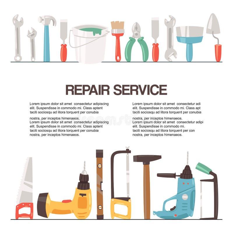 Reparaturservice-Werkzeugfahnen-Vektorillustration Hauptreparatur Bohren Sie, elektrische S?ge, Bandma?, Schrauben, Bleistiftzeic vektor abbildung