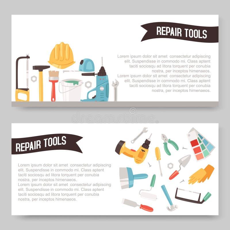 Reparaturservice-Werkzeugsatz der Fahnenvektorillustration Hauptreparatur Bohren Sie, elektrische S?ge, Bandma?, Schrauben, Bleis vektor abbildung
