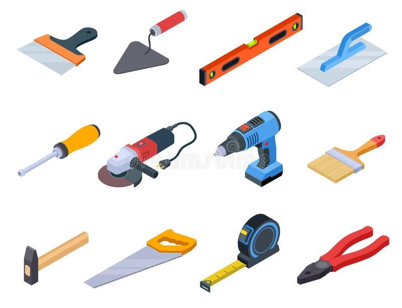 Reparaturwerkzeug isometrisch Heimwerkerbauwerkzeuge malen Ausrüstungsreparaturausgangsbohrgeräthandwerker, den 3d Vektorsatz lok stock abbildung