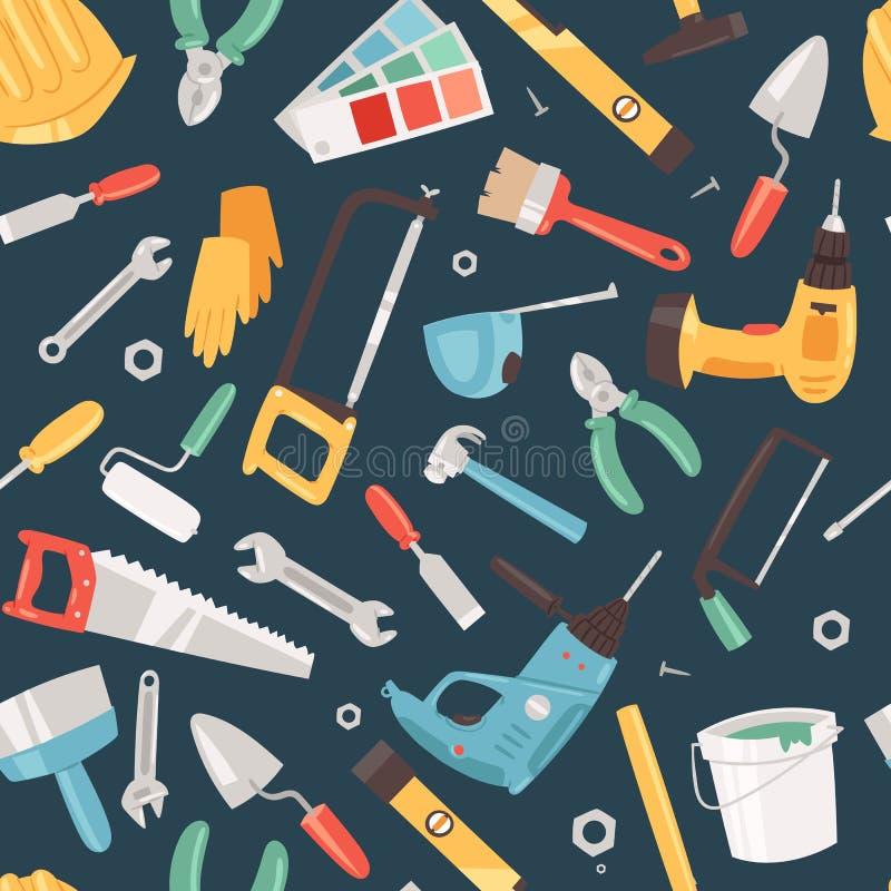 Reparaturwerkzeuge halten nahtlose Mustervektorillustration instand Hauptreparatur Bohren Sie, elektrische S?ge, Bandma?, Schraub lizenzfreie abbildung