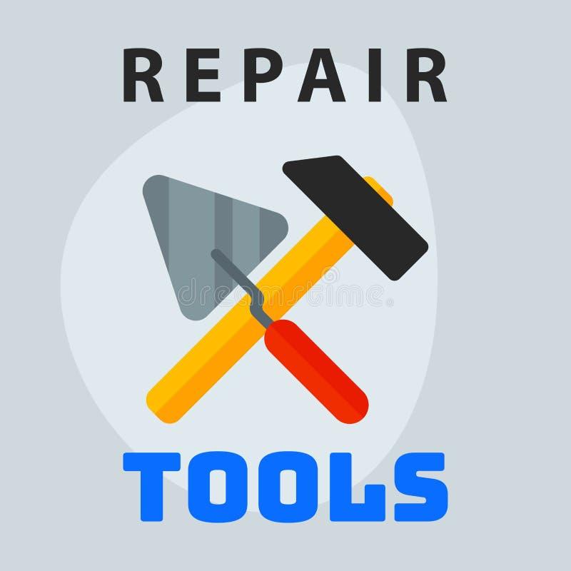 Repare el elemento creativo del logotipo del diseño gráfico del icono de la paleta del martillo de las herramientas y mantenga el libre illustration