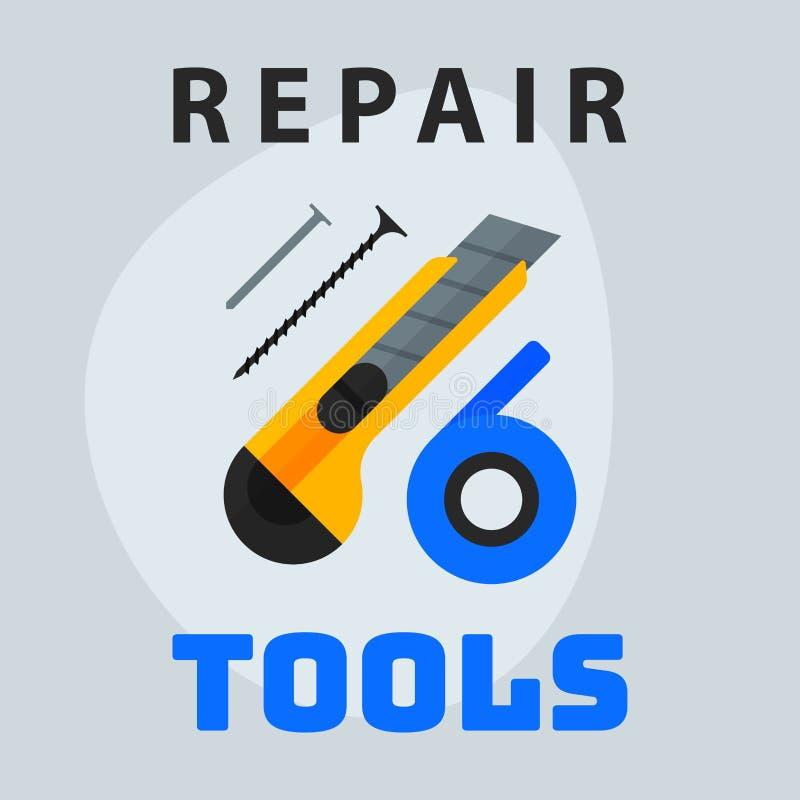 Repare el elemento creativo del logotipo del diseño gráfico del icono de los clavos de la cinta del cuchillo de las herramientas  ilustración del vector