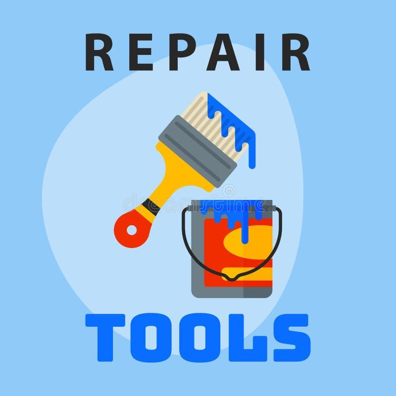 Repare el elemento creativo del logotipo del diseño gráfico del icono del cepillo del cubo de la pintura de las herramientas y ma ilustración del vector