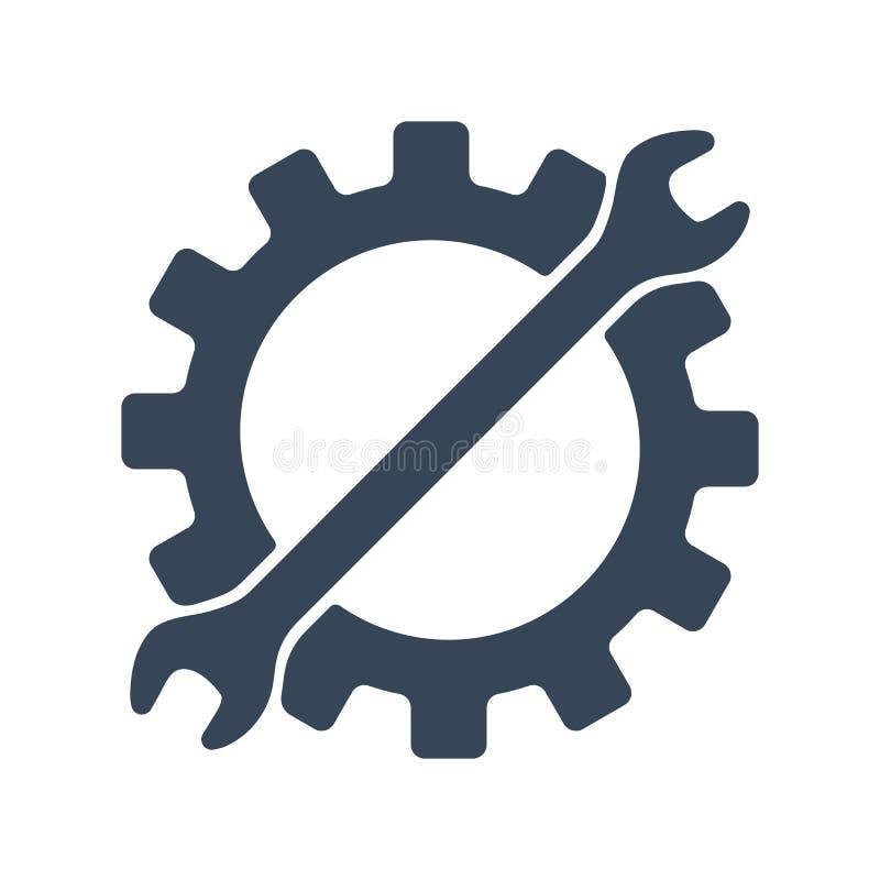 Repare el icono Engranaje y llave Elemento creativo del logotipo del diseño gráfico Ilustración del vector aislada en el fondo bl stock de ilustración