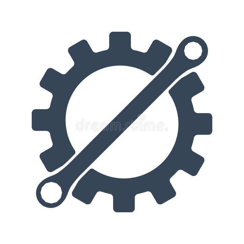 Repare el icono Engranaje y llave Elemento creativo del logotipo del diseño gráfico Ilustración del vector aislada en el fondo bl ilustración del vector