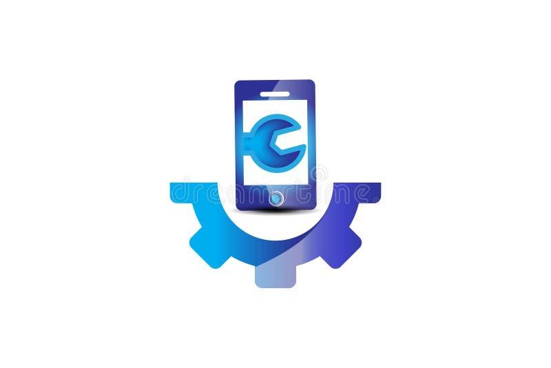 repare el teléfono, inspiración del diseño del logotipo del engranaje ilustración del vector