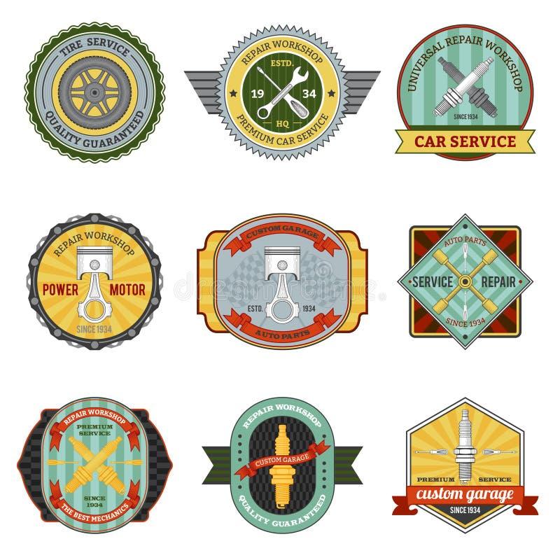 Repare las insignias retras del taller libre illustration