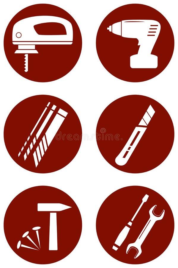Repare los iconos con las herramientas de la construcción stock de ilustración