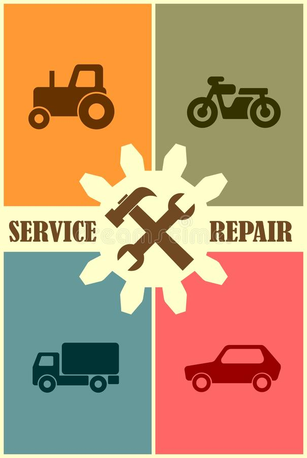 Repare los iconos de la herramienta del arreglo servicio de atención al cliente auto del vehículo stock de ilustración
