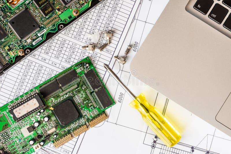Repare o computador quebrado, uma microplaqueta com uma chave de fenda com os parafusos imagem de stock