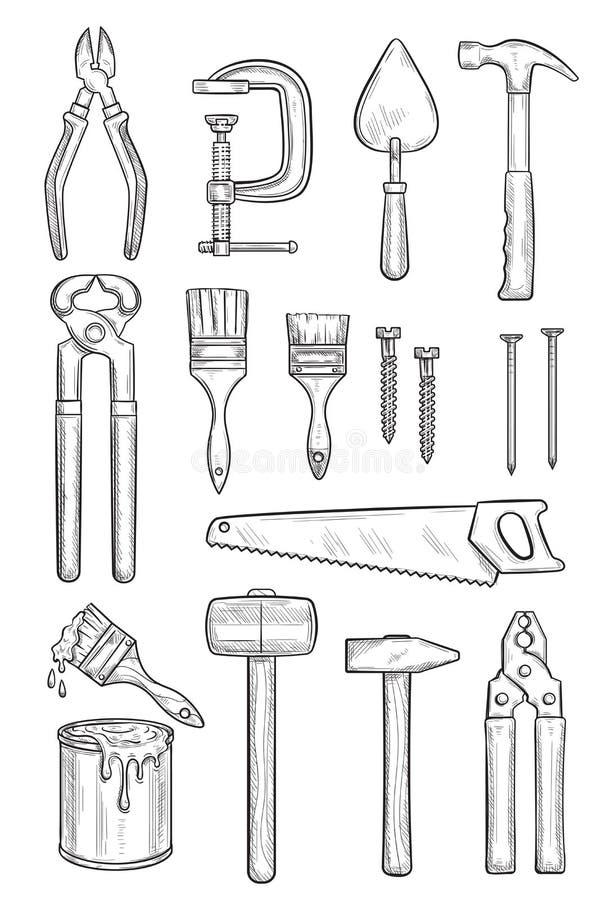 Repare o esboço da ferramenta para a construção e a carpintaria ilustração do vetor
