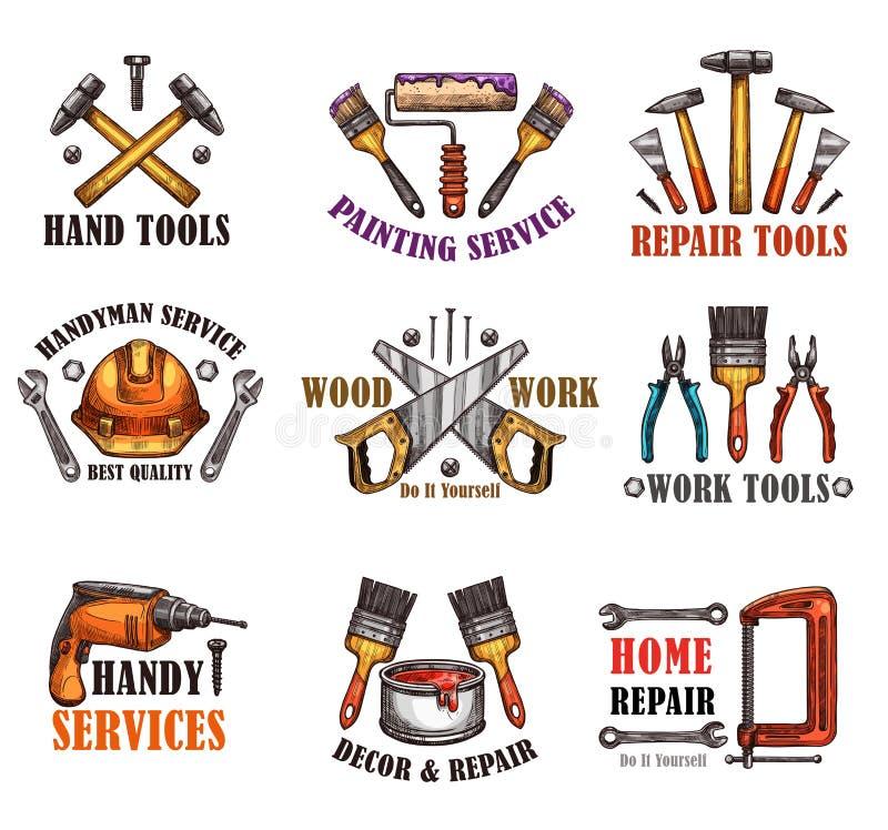 Repare o esboço da ferramenta para o projeto home da construção ilustração royalty free