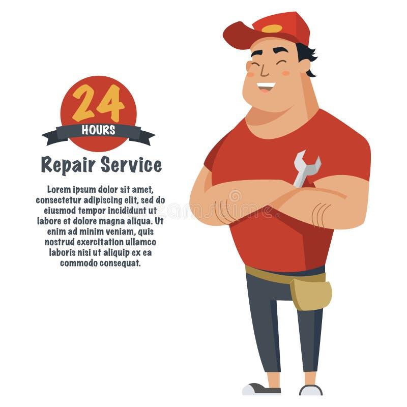 Repare o homem com chave à disposição Encanador, mecânico ou trabalhador manual na roupa de trabalho Ilustração lisa do vetor ilustração royalty free