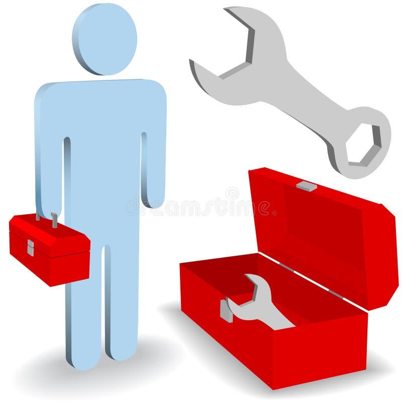 Repare o jogo do ícone da caixa de ferramentas da pessoa do trabalho