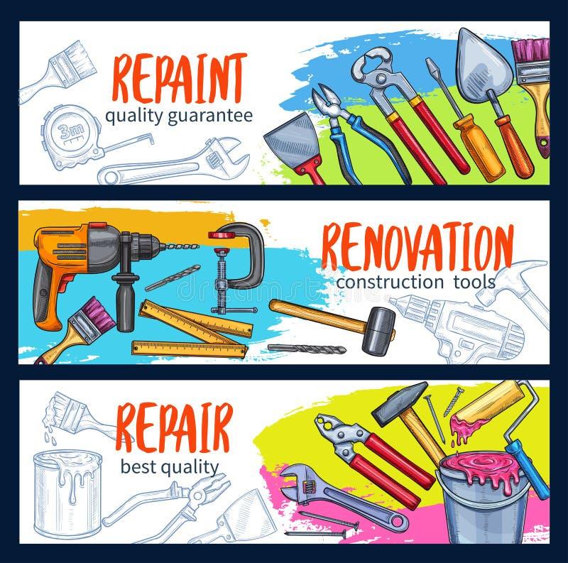 Reparieren Sie Arbeitsfahne mit Bauwerkzeugskizze vektor abbildung